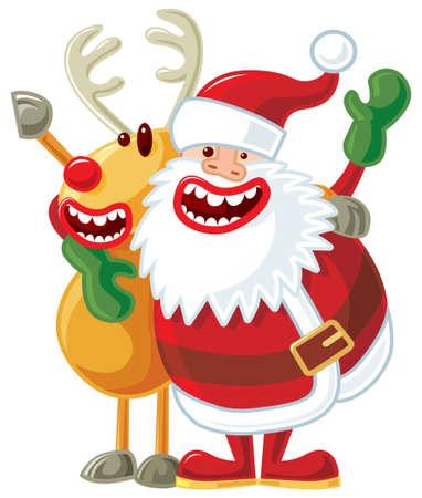 Santa and Rudolph.  Vector