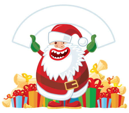 Santa with white banner. Vector without gradients, great for printing. Vector