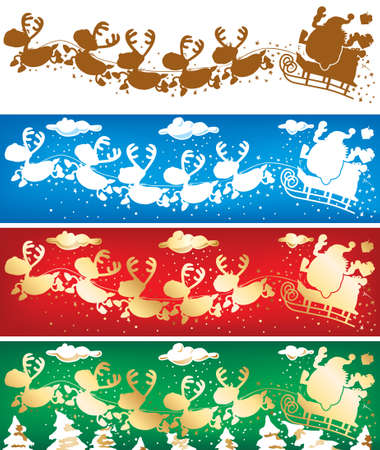 Santa and reindeers banners Vector