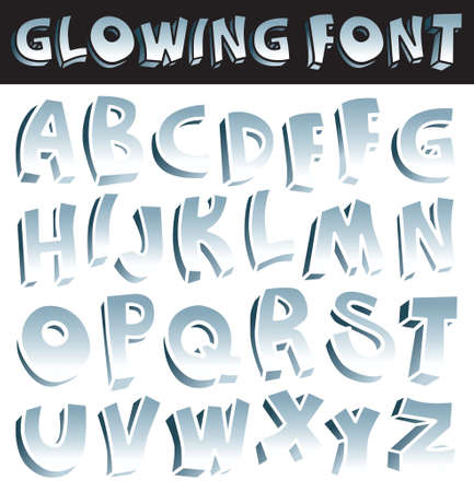 metalic: Glowing font Illustration