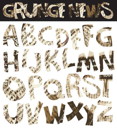 Grunge newspaper font, retro punk-rock style Vector