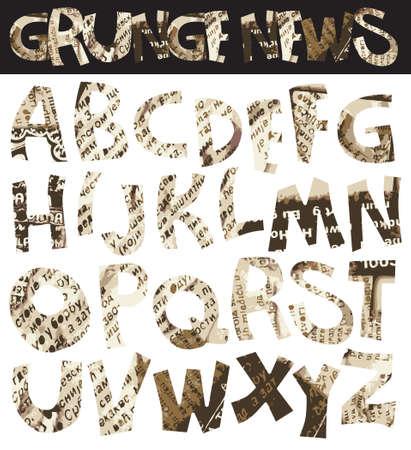 Grunge newspaper font, retro punk-rock style