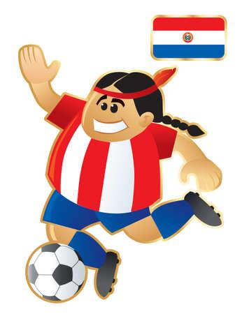 Paraguay: Football mascotte Paraguay Illustration