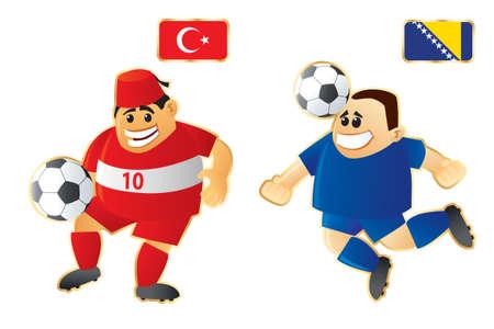 Football macots Turkey Bosnia photo