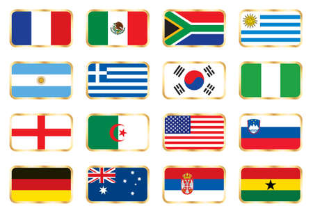 Flags. 16 Football World cup nations (groups A B C D) photo