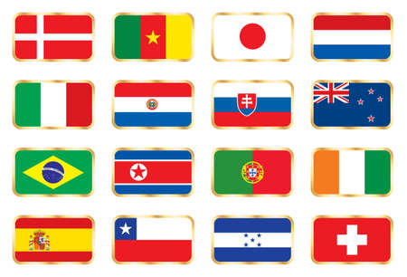 Flags. 16 Football World cup nations (groups E F G H) photo
