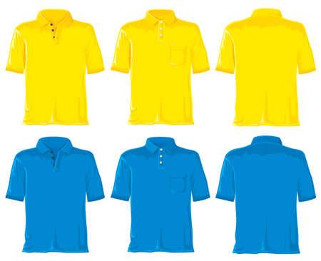 polo: Polo instellen zonder verlopen. Geel - blauwe. Stockfoto