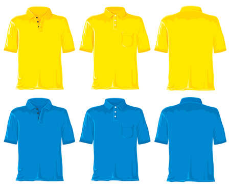 men shirt: Polo set without gradients. Yellow - blue.