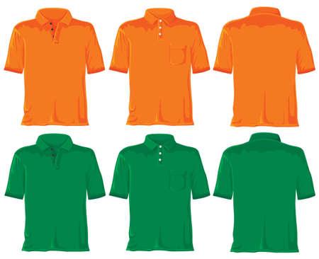 with orange and white body: Polo establece sin degradados. Orange - verde. Foto de archivo