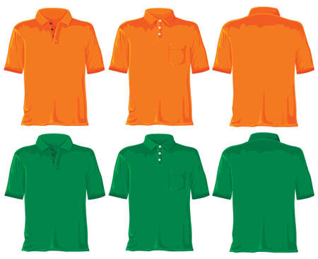 blank shirt: Polo set without gradients. Orange - green. Stock Photo