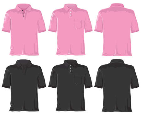 Polo set without gradients. Pink - black. photo