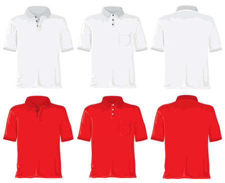 without: Polo set without gradients. White - red. Stock Photo
