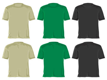 T-shirt set without gradients.  Green - black. photo