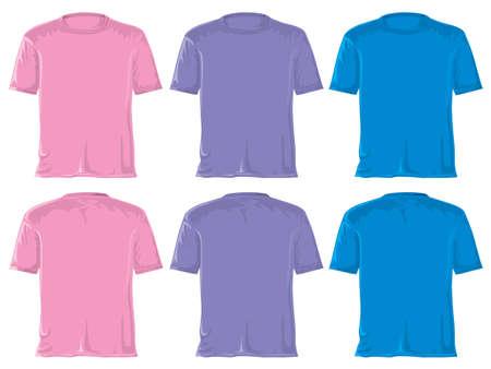 T-shirt set without gradients. Pink - violet - blue. photo