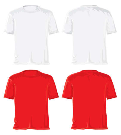 T-shirt set without gradients. White - red.  photo