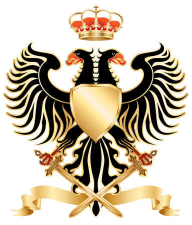 double headed: Double-headed eagle with crown and swords.  Stock Photo