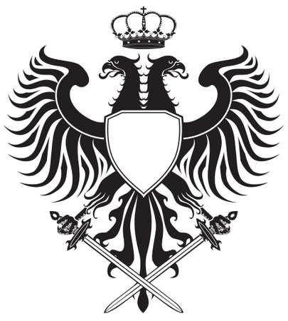 �guila bic�fala con corona y espadas. Original cresta de �guila. F�cil de manejar, cambio de colores etc.. Foto de archivo - 6998218