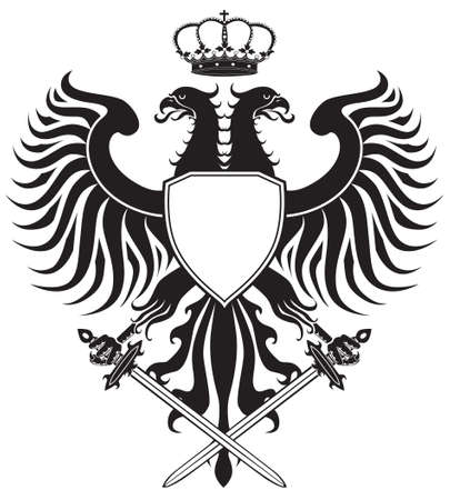 Double-headed eagle with crown and swords. Original eagle crest. Easy to handle, change colors etc. Stock Photo - 6998218