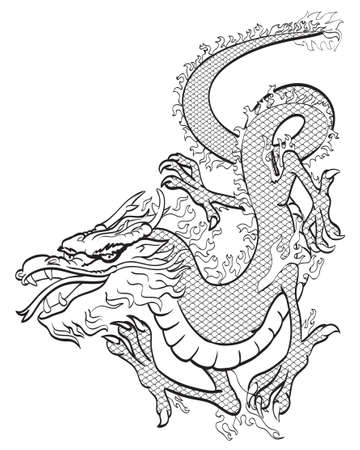 Dragon black and white Stock Photo - 6998242