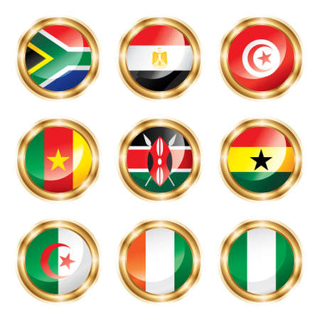south african flag: Flag buttons Africa.