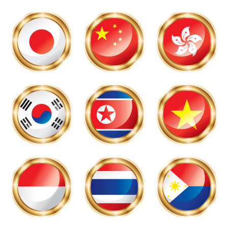 Flag buttons Asia one.  photo