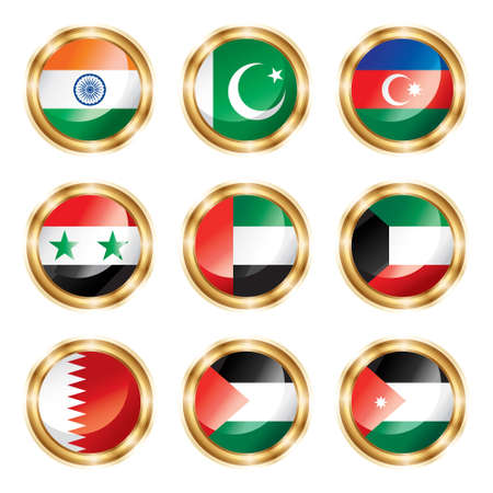 Flag buttons Asia two.  photo