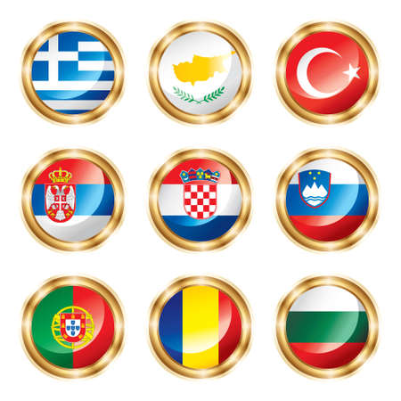croatia: Flag buttons European four.  Stock Photo