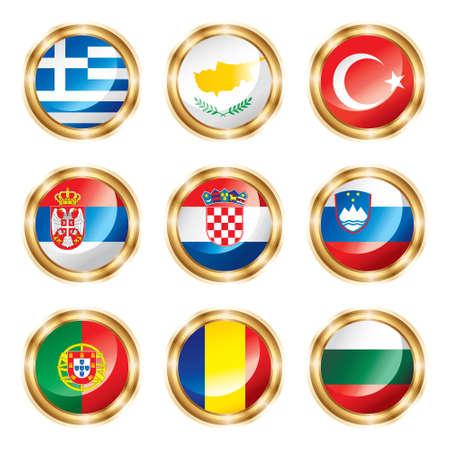 flag croatia: La bandera de botones cuatro Europeo.