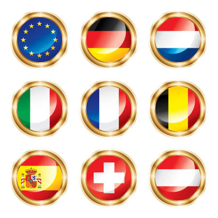Flag buttons European one. Stock Photo - 6998230
