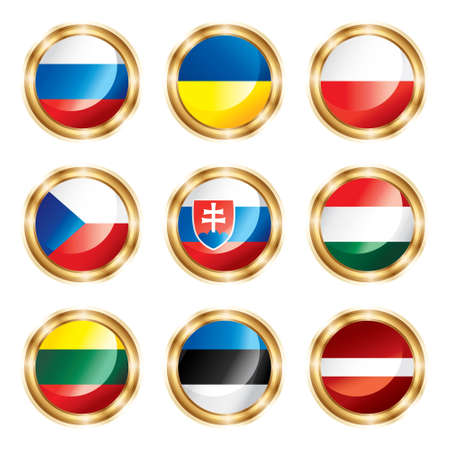 lithuania flag: Flag buttons European three.  each in separated layer Stock Photo
