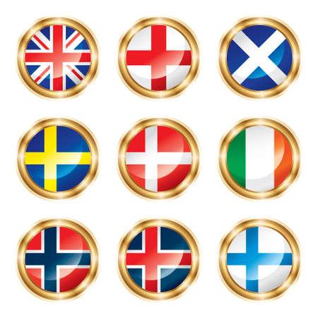 Flag buttons European two.  photo