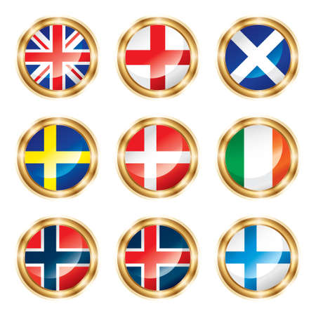 iceland flag: Flag buttons European two.
