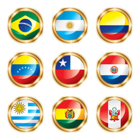 paraguay: Flag buttons South America. Stock Photo