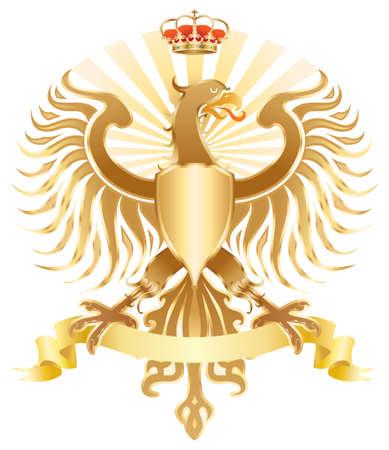 heraldic eagle: Original golden eagle crest.  color version.