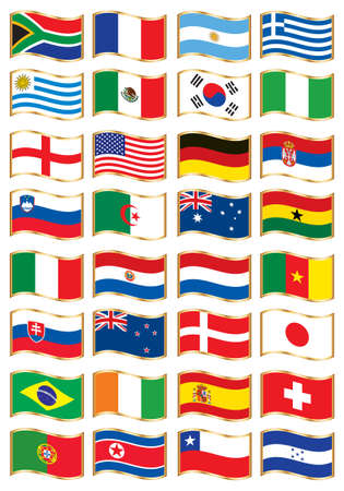 uruguay: National flags. 32 nations Illustration