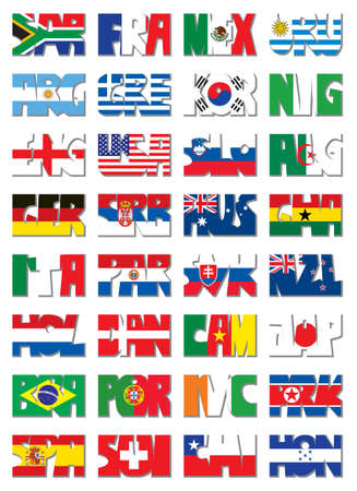 National three letter codes. 32 nations Vector