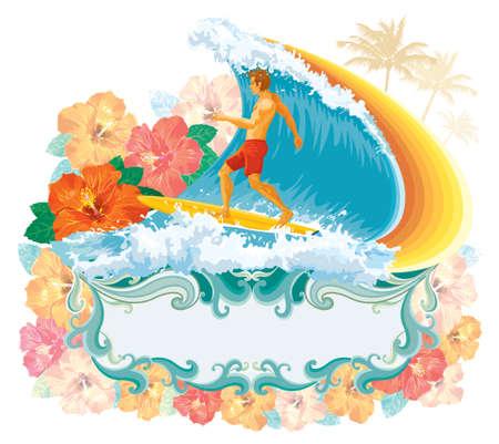 波でサーファー。グラデーションなしベクトル イラスト。