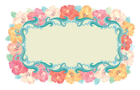 Floral - Hibiscus frame. Vector without gradients, great for printing. Vector
