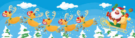 Santa and reindeers in a hurry Stock Vector - 8146422