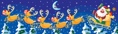 Santa and reindeers in a hurry, night scene  Vector