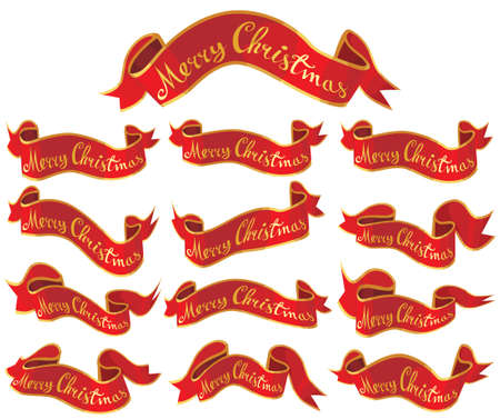 Merry Christmas red banners set Illustration