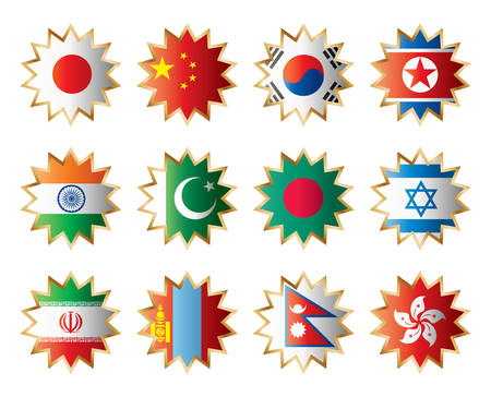 bangladesh: Star flags Asia. Separated layers with country name.