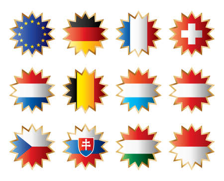 Star flags Central Europe. Separated layers with country name. Vector
