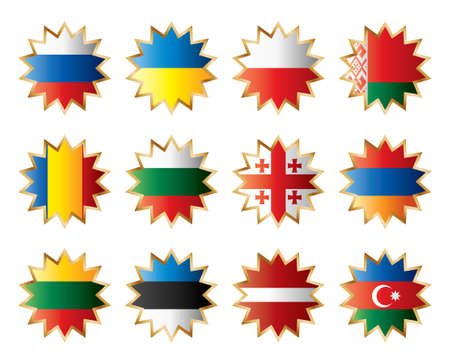 Star flags East Europe. Separated layers with country name. Vector