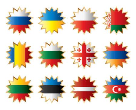 Sterne-Flags East Europe. Getrennte Schichten mit Ländernamen. Vektorgrafik