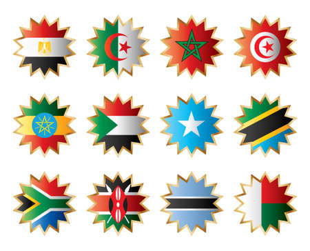 Star flags Africa two. Separated layers with country name. Vector