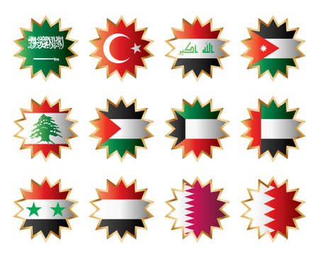 Star flags Middle East. Separated layers with country name. Vector