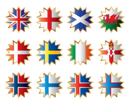 Star flags North Europe. Separated layers with country name. Vector