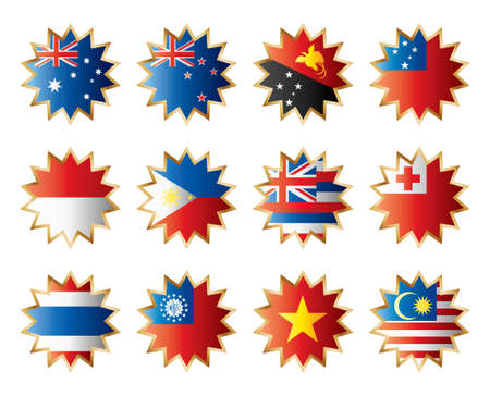tonga: Star flags Oceania & SE Asia. Separated layers with names.
