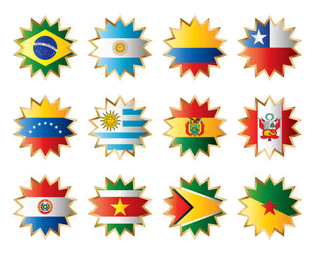 Star flags South America. Separated layers with country name. Vector
